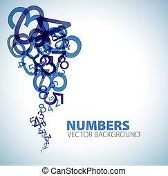 fundo, com, azul, números