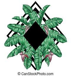 fundo, com, banana, leaves., decorativo, imagem, de, tropicais, foliage, flores, e, fruits., desenho, para, anunciando, booklets, bandeiras, flayers, cartões, impressão têxtil