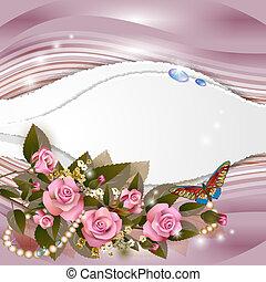 fundo, com, bonito, cor-de-rosa levantou-se