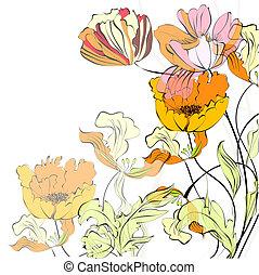 fundo, com, bonito, flores