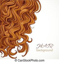 fundo, com, cabelo marrom ondulado