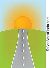 fundo, com, cinzento, estrada, e, sol