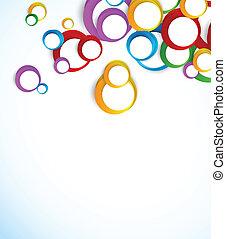 fundo, com, coloridos, círculos
