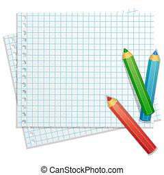 fundo, com, cor, lápis