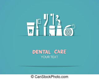 fundo, com, cuidado dental, símbolos