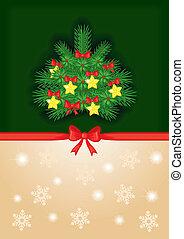 fundo, com, decorado, árvore abeto