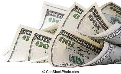fundo, com, dinheiro, americano, cem dólar, contas
