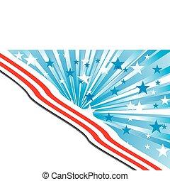 fundo, com, elementos, de, bandeira americana, com, a, lugar, para, seu, texto, vetorial, ilustração
