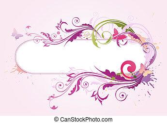 fundo, com, floral, ornamento