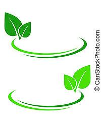 fundo, com, folha verde