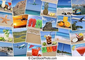 fundo, com, fotografias, de, férias verão, praia, feriado, e, mar