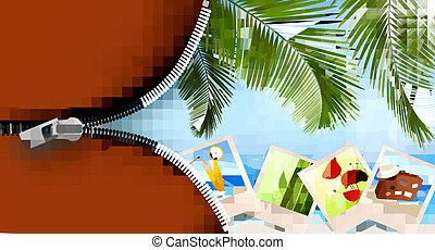 fundo, com, fotografias, de, feriados, ligado, um, seaside., feriados verão, concept., vetorial