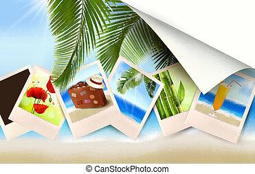 fundo, com, fotografias, de, feriados, ligado, um, seaside., vetorial