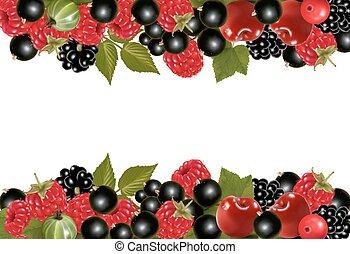 fundo, com, fresco, bagas, e, cherries., vetorial, ilustração