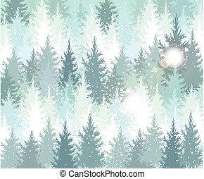 fundo, com, inverno, floresta