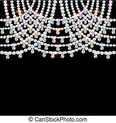 fundo, com, jeweled, pendentes, ligado, pretas