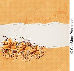 fundo, com, lírio, e, laranja, papel