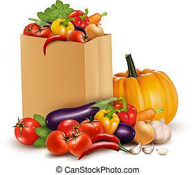 fundo, com, legumes frescos, em, papel, bag., saudável, alimento., vetorial, ilustração