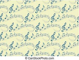 fundo, com, música, notas.