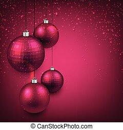 fundo, com, magenta, natal, balls.