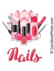 fundo, com, manicure, tools.