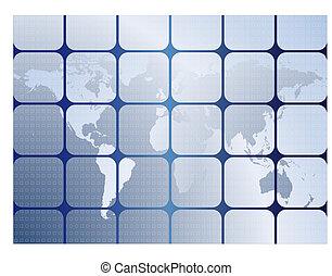 fundo, com, mapas, de, mundo