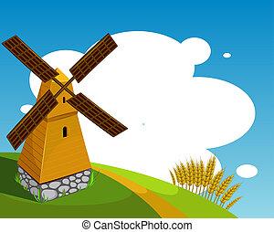 fundo, com, moinho de vento