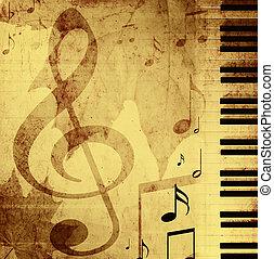 fundo, com, musical, símbolos