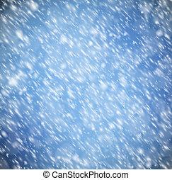 fundo, com, neve