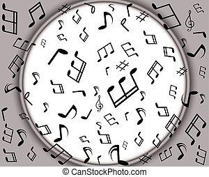 fundo, com, notas música, borda