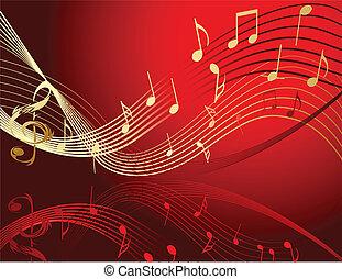fundo, com, notas música