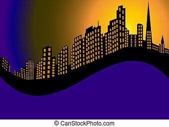 fundo, com, noturna, cidade, e, alto, casa