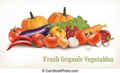 fundo, com, orgânica, fresco, veget