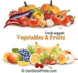fundo, com, orgânica, fresco, vegetables., e, frutas, saudável, alimento., vetorial, ilustração