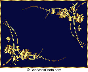 fundo, com, ouro, flores
