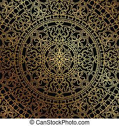 fundo, com, ouro, ornamento