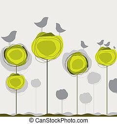 fundo, com, pássaros, árvore., vetorial, ilustração