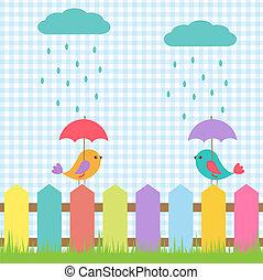 fundo, com, pássaros, sob, guarda-chuvas