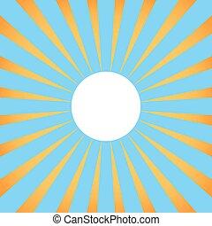 fundo, com, raios sol, com, branca, center.