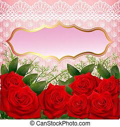 fundo, com, rosas vermelhas, e, renda