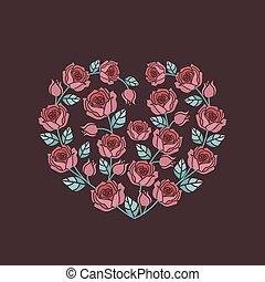 fundo, com, rosas vermelhas