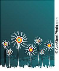 fundo, com, stylized, flores