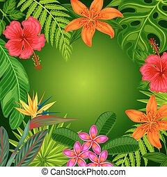fundo, com, stylized, tropicais, plantas, folhas, e, flowers., imagem, para, anunciando, booklets, bandeiras, flayers, cartões