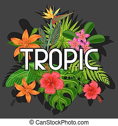 fundo, com, stylized, tropicais, plantas, folhas, e, flowers., imagem, para, anunciando, booklets, bandeiras, flayers, cartões, impressão têxtil