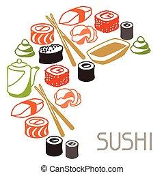 fundo, com, sushi.