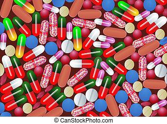 fundo, com, tabuleta, pílula, e, cápsula, medicina