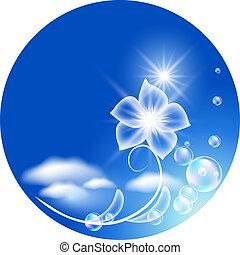 fundo, com, transparente, flores