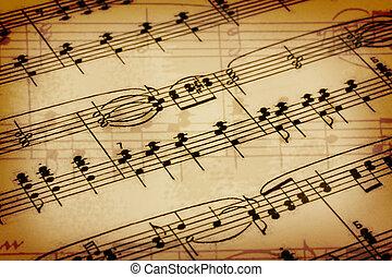 fundo, com, um, notas música