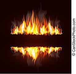 fundo, com, um, queimadura, chama