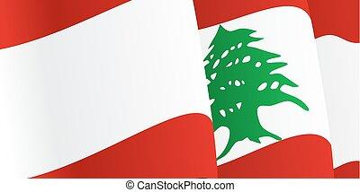 fundo, com, waving, lebanese, flag., vetorial